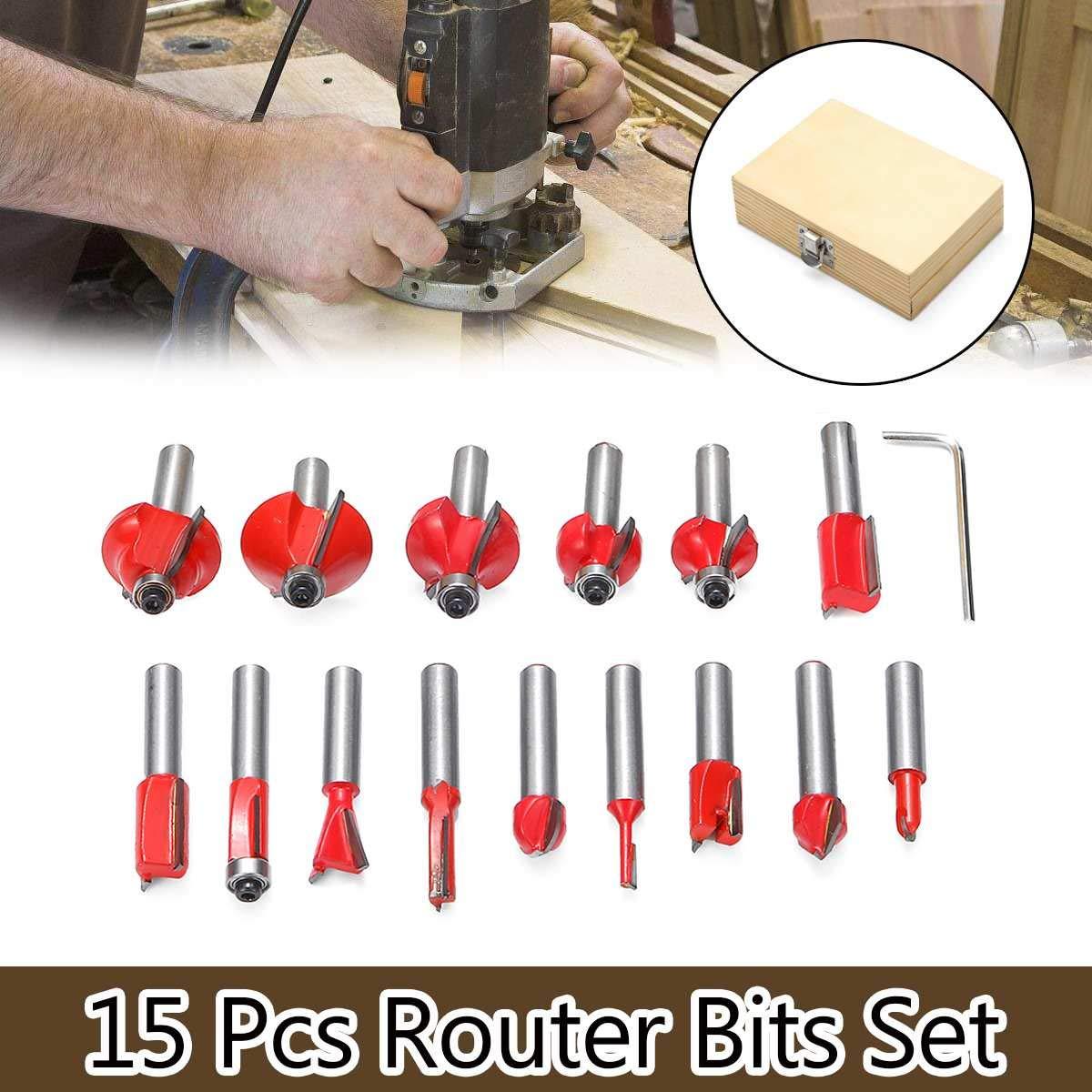 Milling Cutter 15pcs Router Bit Set 8mm Wood Cutter Carbide Shank Woodworking