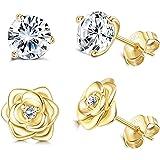 Sllaiss 2 Pairs S925 Sterling Silver CZ Flower Stud Earrings for Women Set with Swarovski Zirconia Elegant White Gold…