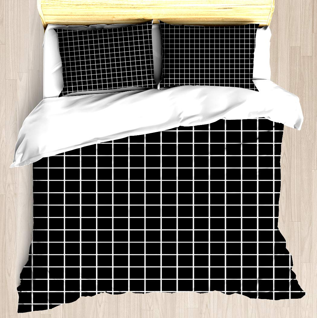 Black GRIDS Design - Duvet Cover Set Soft Comforter Cover Pillowcase Bed Set Unique Printed Floral Pattern Design Duvet Covers Blanket Cover King/Cal King Size by SNRBED