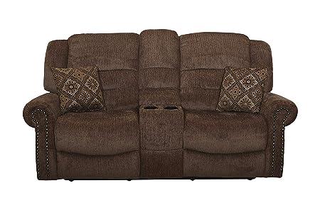 New Classic Furniture U4256-25P-PLT Jasper Upholstery Recliner Loveseat, Power, Panda
