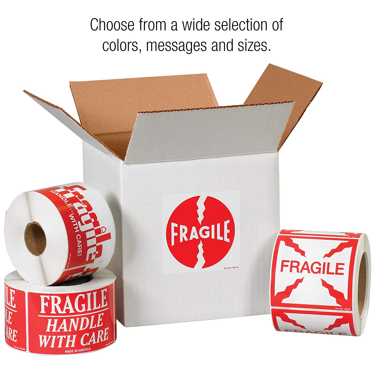 Red//White Thank You with Stars 3 x 5 Handle with Care Tape Logic TLSCL536 Labels,Fragile 1 Roll of 500 Labels