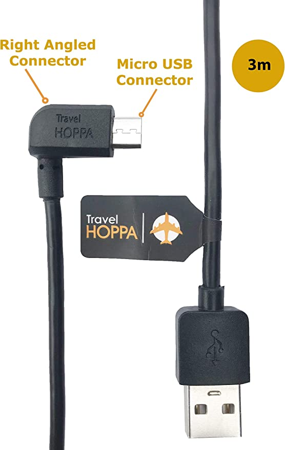 Kfz Ladegerät Für Tomtom Rechtwinkliges Micro Usb Kabel 3 M