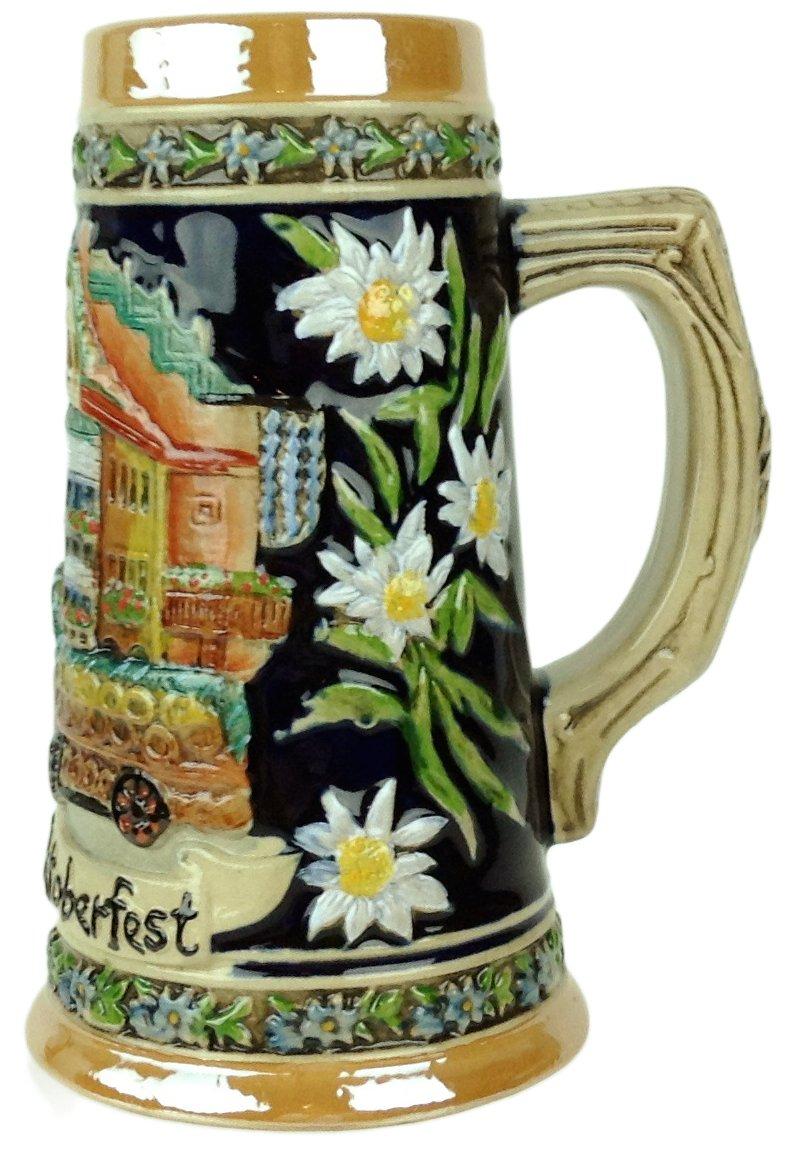 Munich Oktoberfest Scenic German Street Scene Engraved Ceramic Beer Stein Essence of Europe Gifts E.H.G S4016