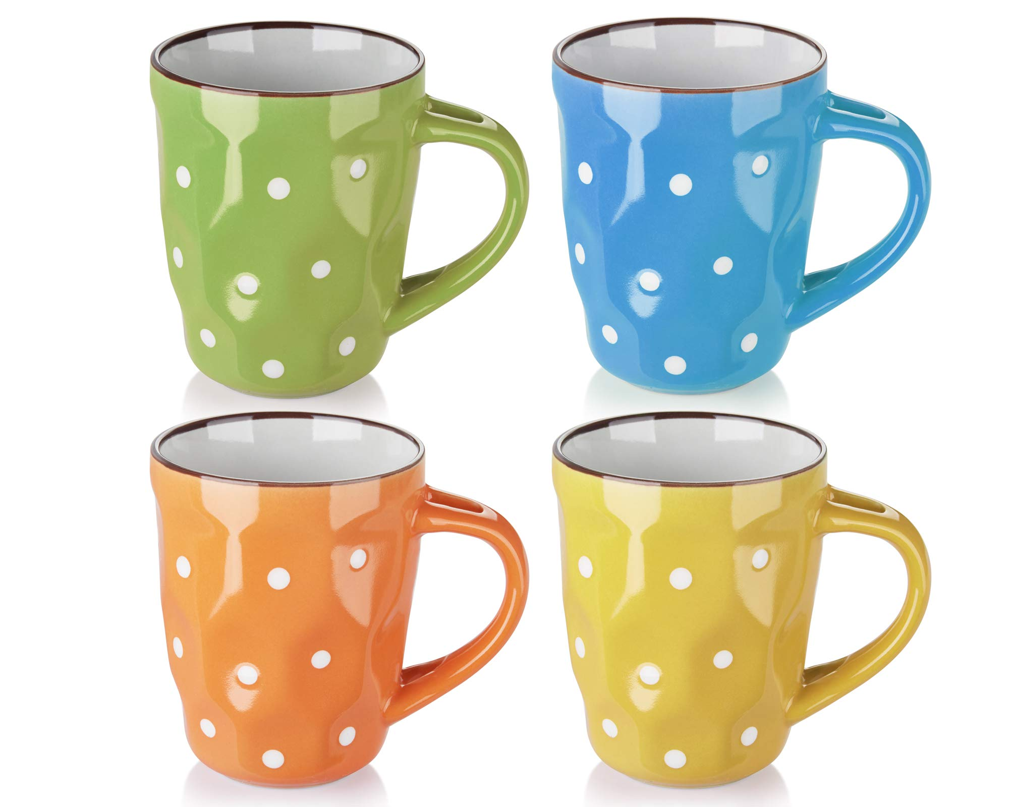 DOWAN Polka Dot Mugs - 13 Ounce for Coffee, Tea, Cocoa,Set of 4, Porcelain mugs, Assorted Colors