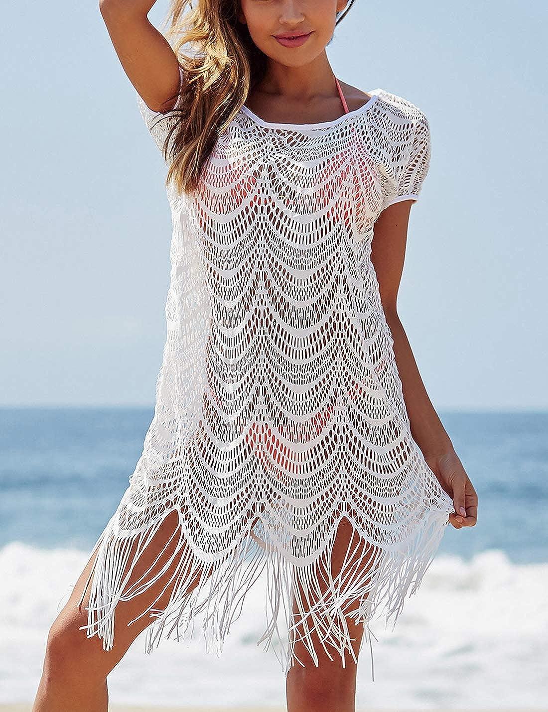 f2d1796623 Ailunsnika White V Neck Short Sleeve Bikini Cover Up Dress Beach Tassel  Hollow Out Swimwear Cover Ups for Women at Amazon Women's Clothing store: