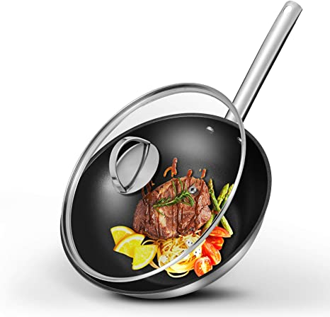 MICHELANGELO Stainless Steel Wok with Lid Nonstick Steel Woks and Stir Frying Pans Steel Wok Pan Pro Triply 12.5 Inch Stainless Steel Wok With Nonstick Honeycomb Coating Induction Compatible