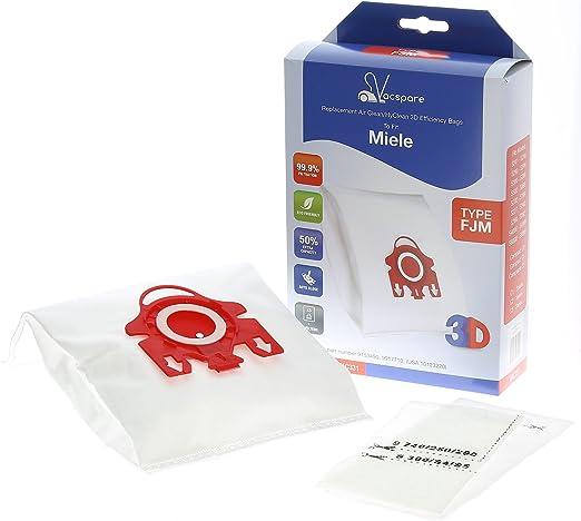 VACSPARE 3D FJM HyClean/AirClean bolsas de polvo para aspiradoras Miele Compact C1 C2, White/Red, Pack de 5: Amazon.es: Hogar