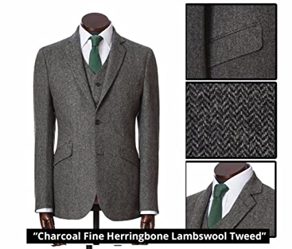 525f8cf66a8 high-End Grey Tweed Herringbone Men s 3 Piece Suits Slim Fit Groom ...