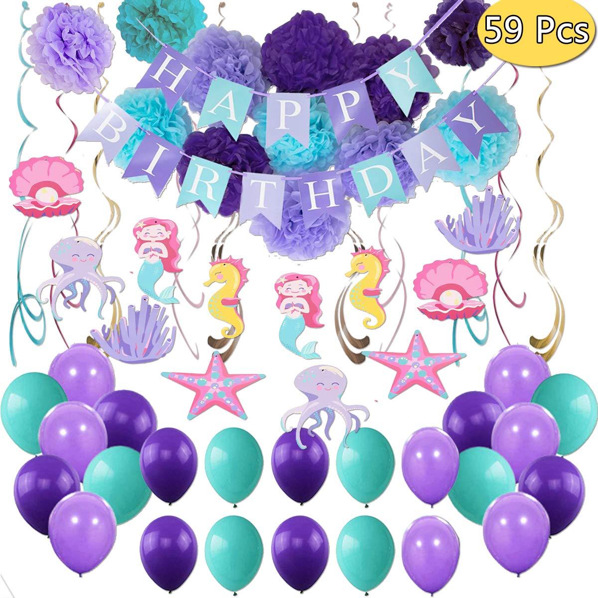 THAWAY Mermaid Party Supplies Birthday Decorations Pom Happy Birthday Banners