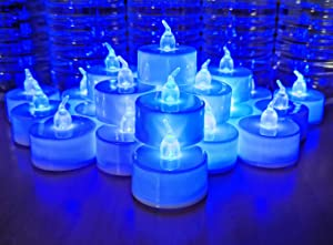 LANKER 24 Pack LED Tea Lights Candles – Flickering Flameless Tealight Candle – Long Lasting Battery Operated Fake Candles – Decoration for Wedding, Halloween and Christmas (Blue - 24pcs)