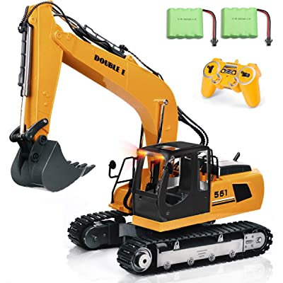 DOUBLE E Remote Control Truck 17 Channel RC Excavator Toy Construction Vehicles with 2 Batteries Metal Shovel Lights Sounds 1:16 Scale RC Tractor: Toys & Games