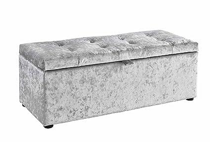 Silver Crushed Velvet Ottoman Storage Unit - Window Seat ababaeb493e3