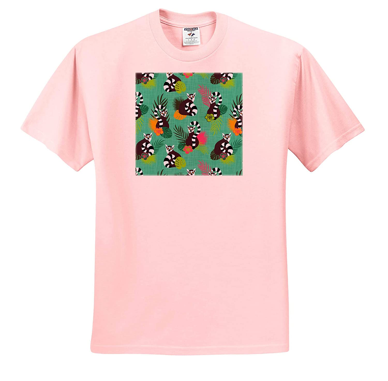 ts/_319858 3dRose Janna Salak Designs Tropical Tropical Lemurs Aquamarine Adult T-Shirt XL