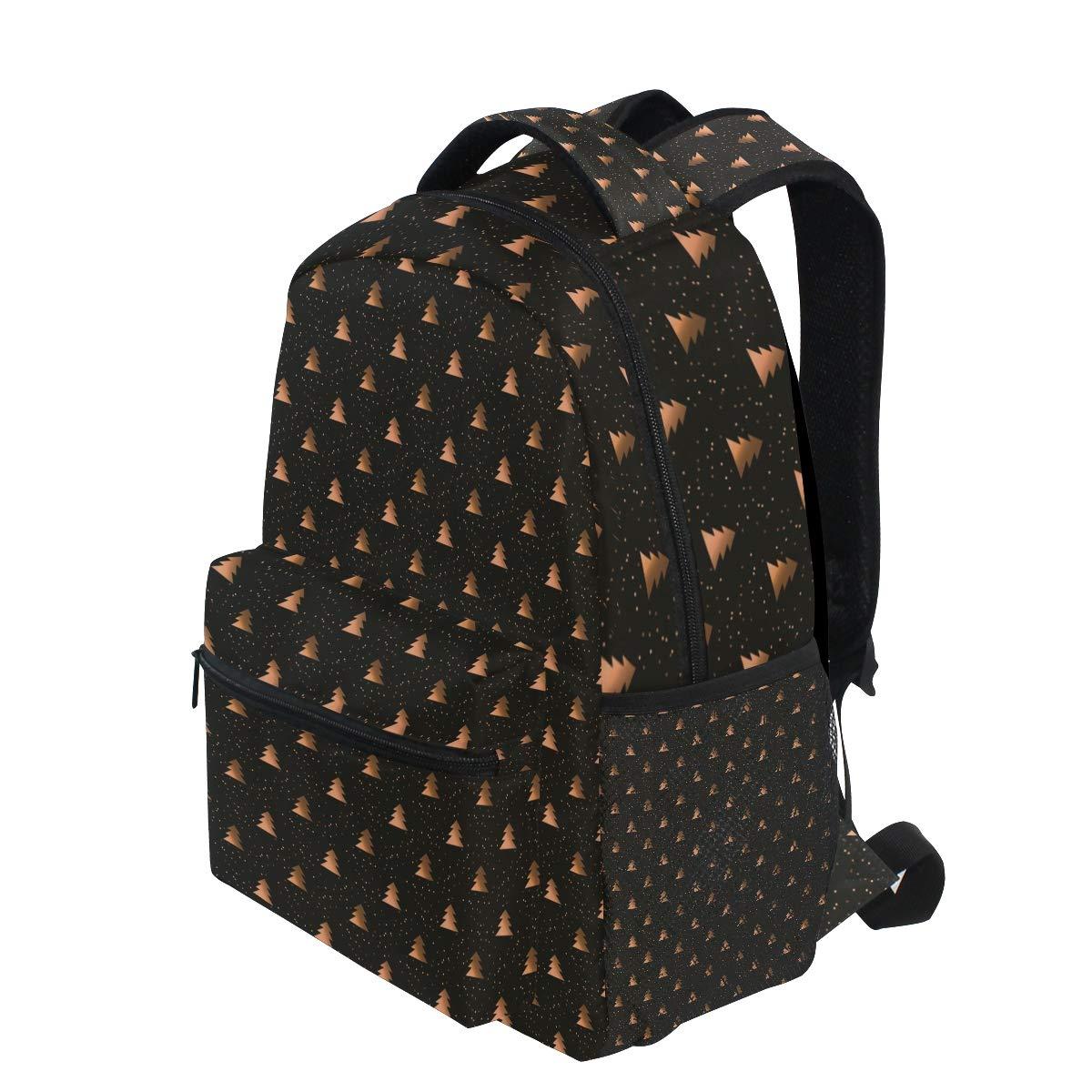 bcb0cede5d Amazon.com  Golden Cute Christmas Tree Black Student Backpack