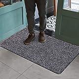 """Indoor Doormat Super Absorbs Mud Mat 47""""x 28"""" Latex Backing Non Slip Door Mat for Front Door Inside Floor Dirt Trapper Mats Cotton Entrance Rug Shoes Scraper Machine Washable Rug Carpet Grey"""
