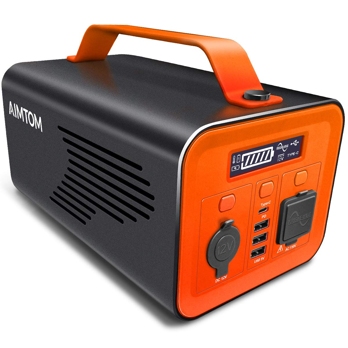 AIMTOM 230Wh Portable Power Station, Solar Rechargeable Battery Pack, 110V 200W AC, 12V DC Carport, 60W USB-C Power Delivery, Pure Sine Wave Generator Alternative for Camping Travel CPAP Emergency