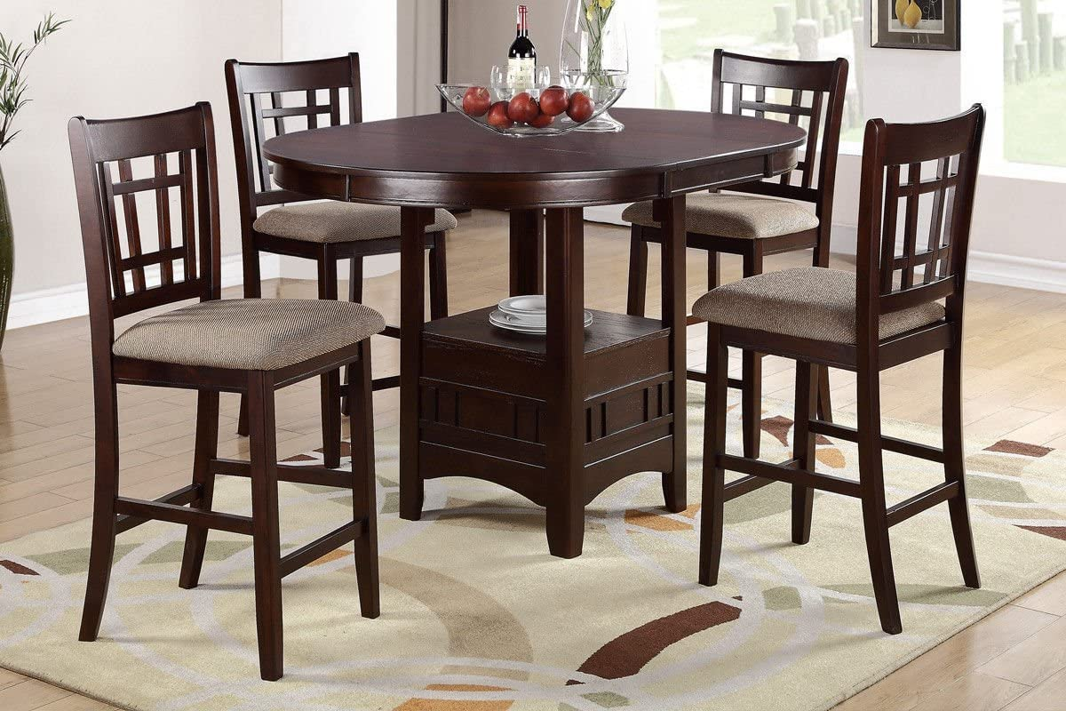 Poundex Brown Finish W Beige Fabric Counter Height Dining Set