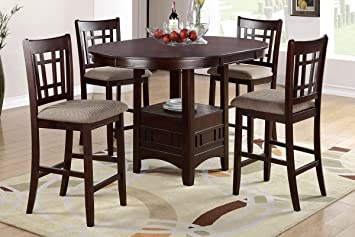 Poundex F2345 U0026 F1205 Brown Finish W/ Beige Fabric Counter Height Dining Set