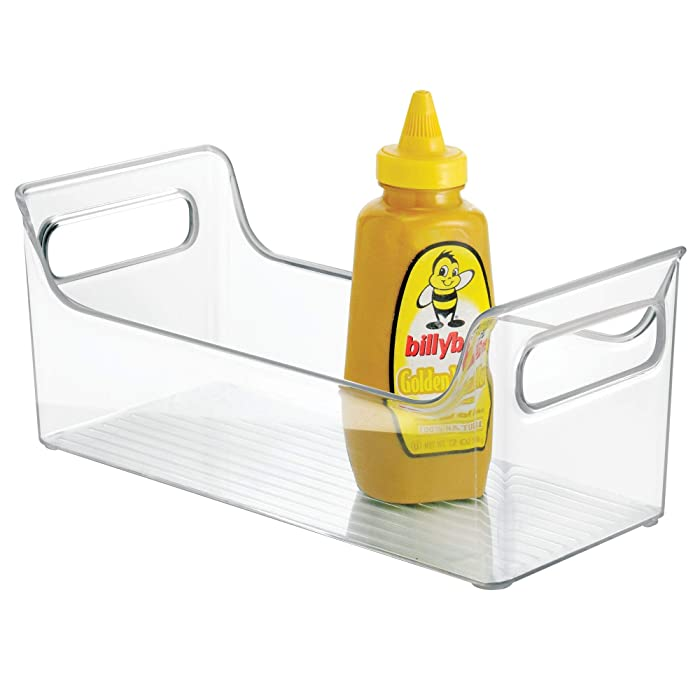 InterDesign Condiment Storage Container - Refrigerator or Freezer Food Organizer Bin, Clear