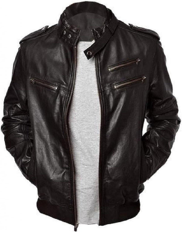 Men Leather Jacket Slim Fit Biker Motorcycle Genuine Lambskin Jacket T717