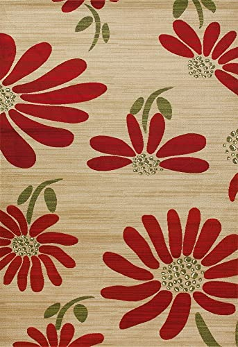 Art Carpet Antigua Collection Spring Daisy Woven Area Rug, 5 x 8 , Yellow Red Green
