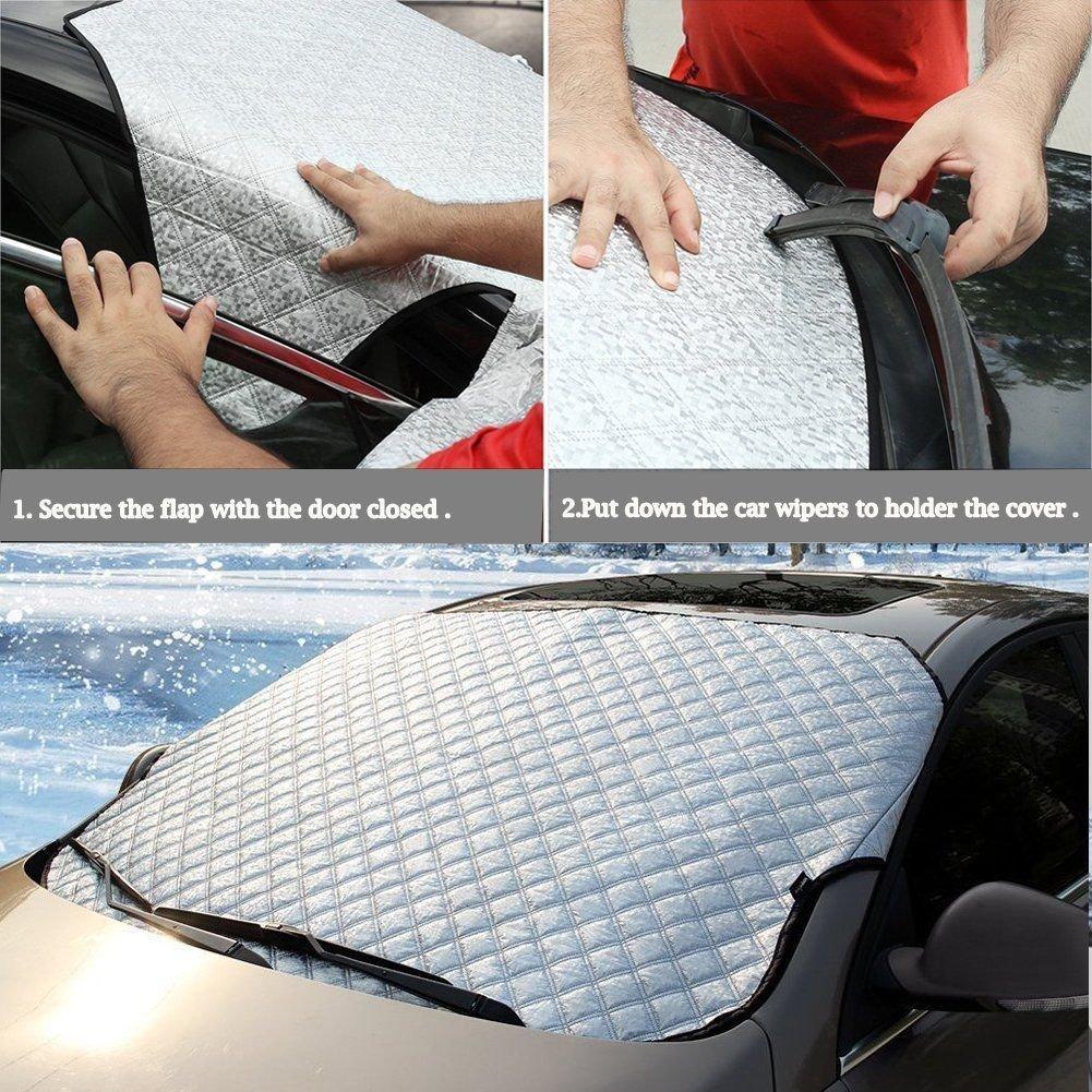 Housse de protection pour pare-brise le soleil ou la neige compatible avec la plupart des v/éhicules contre le vent doublure en aluminium lamin/é pour prot/éger contre la gr/êle