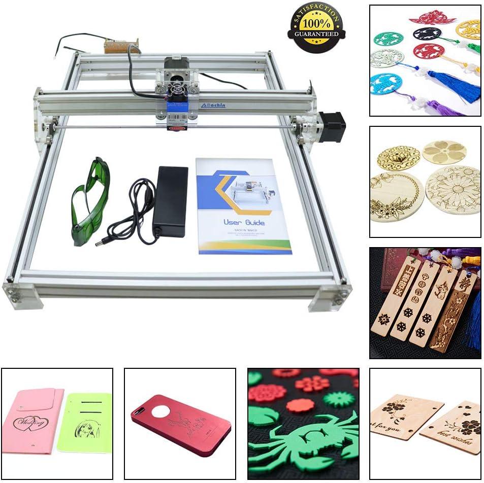 HUKOER 40X50 CM Kits de grabador láser CNC de bricolaje Máquina de grabado láser de escritorio con USB de 12 V, impresora láser de potencia ajustable Talla y corte Carcasas de plástico (500 MW)