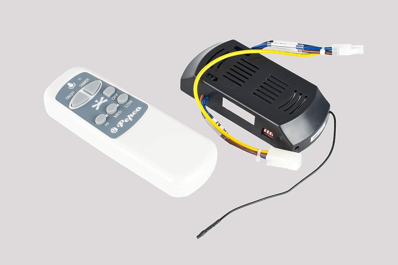 Pepeo Melton Ventilatore da Soffitto 13432010131/_v2 con Telecomando Incluso Pale Bianco 132 cm Rivestimento di Color Nickel