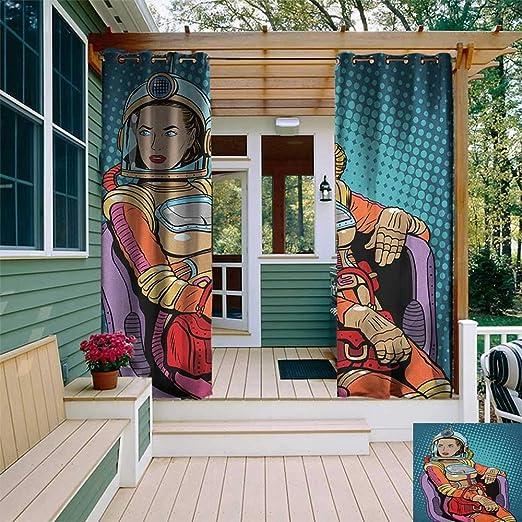 leinuoyi Astronauta - Cortina para Exteriores con Ojales, diseño de Astronauta, Espacio cúbico Volador con Globos al Infinito y más allá, Cortina de Exterior para Patio, Color Rosa: Amazon.es: Jardín