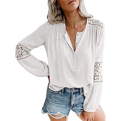 ADREAMLY Women's Lace Crochet V Neck Long Sleeve Button Down Blouses Tops at Amazon Women's Clothing store