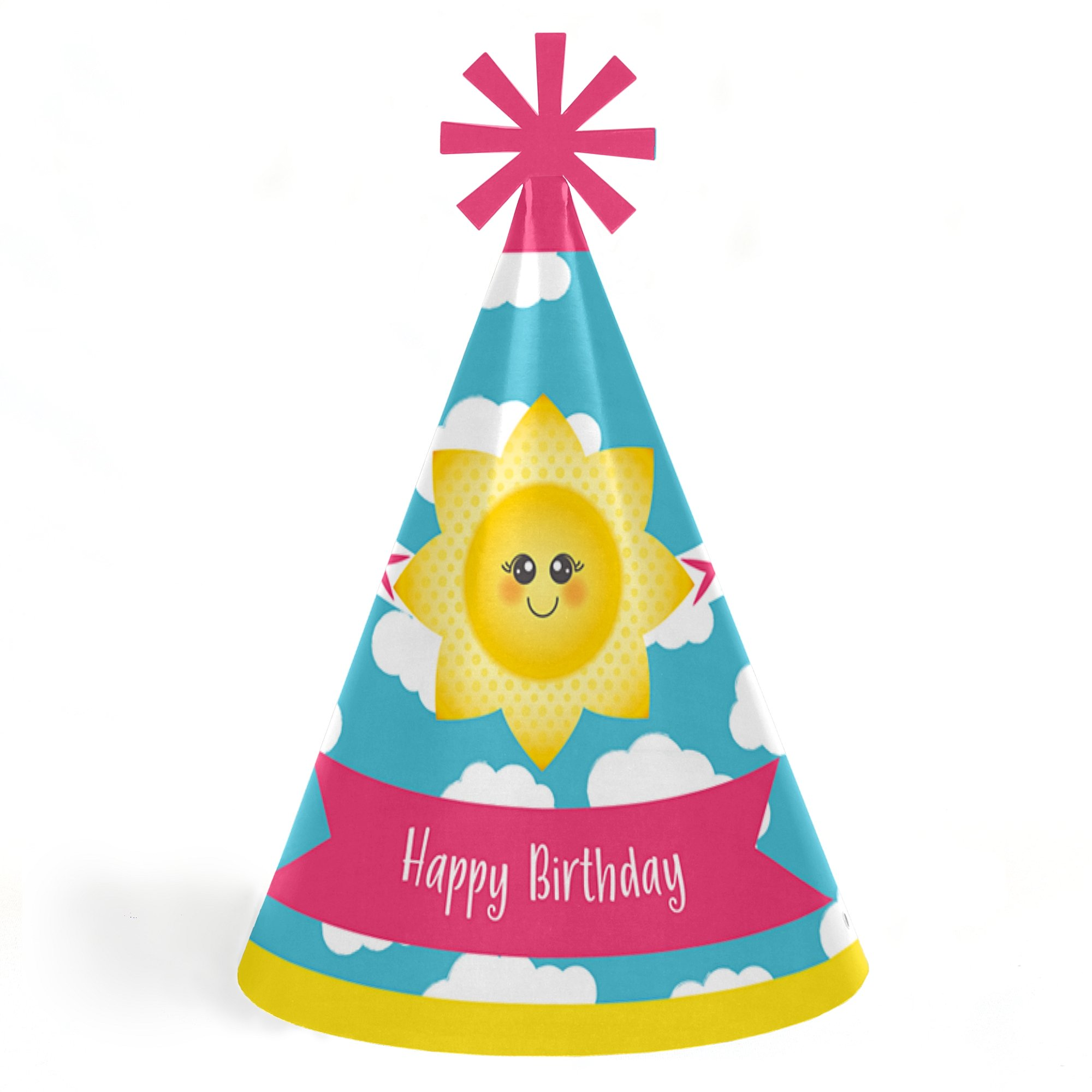 Big Dot of Happiness You Are My Sunshine - Cone Happy Birthday Party Hats for Kids and Adults - Set of 8 (Standard Size)