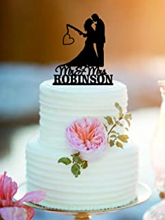Fishing Poles With Date Or Initials Wedding Cake Topper Mr And Mrs