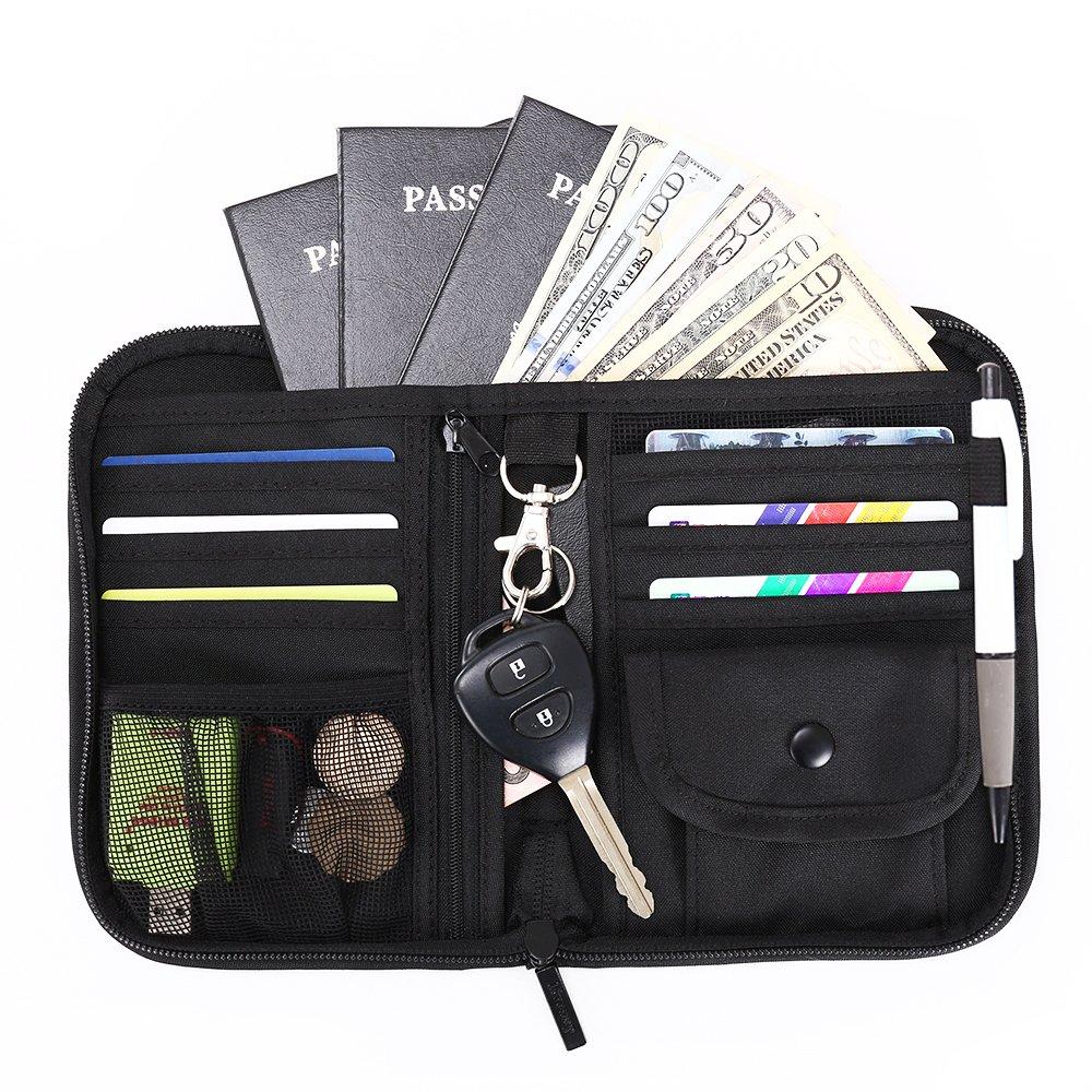 Liveasy Ausweistasche Reisepass RFID Tasche Passport Holder Travel Wallet Organizer für Passport Kreditkarte Flugticket Stift Grau