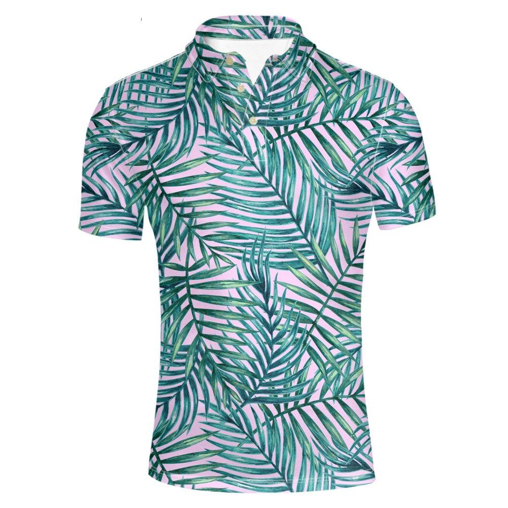 HUGS IDEA Hawaiian Men's Golf Polos Shirt Breadfruit Leaves Print Summer Soft Breathable Short Sleeve Beach Tee T-Shirt Tee