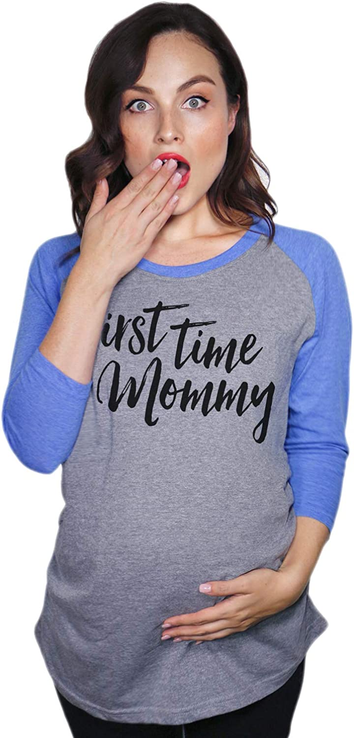 Maternity Raglan First Time Mommy Cute Mothers Day Baseball Tee