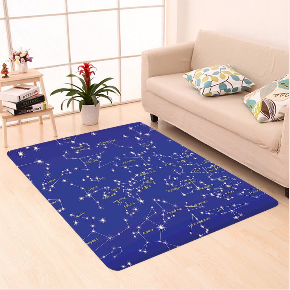 Nalahome Custom carpet tellation Astronomy Science Names of Stars Zodiac Signs Night Sky Violet Blue White Light Yellow area rugs for Living Dining Room Bedroom Hallway Office Carpet (6.5' X 10') by Nalahome