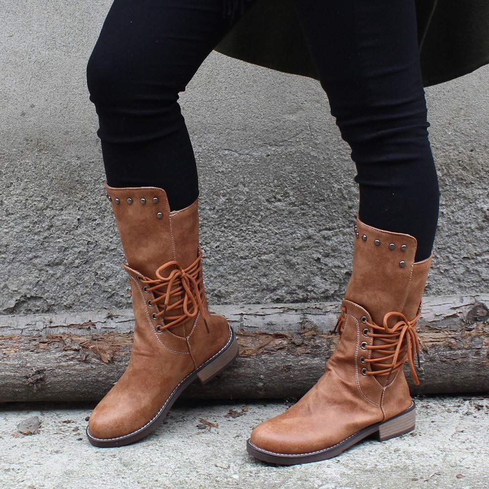 Clearance Sale Military Boots,Womens Artificial Leather Waterproof Mid Calf Boots On Sale Casual Flat Shoes 5.5-10.5