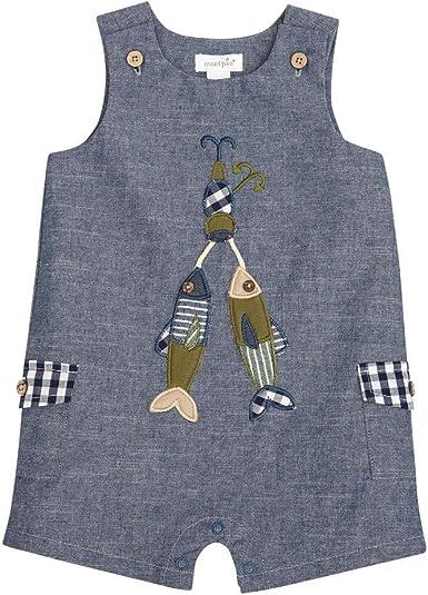 Mud Pie Baby Boys Nautical Sleevless Chambray One Piece Shortall Playwear