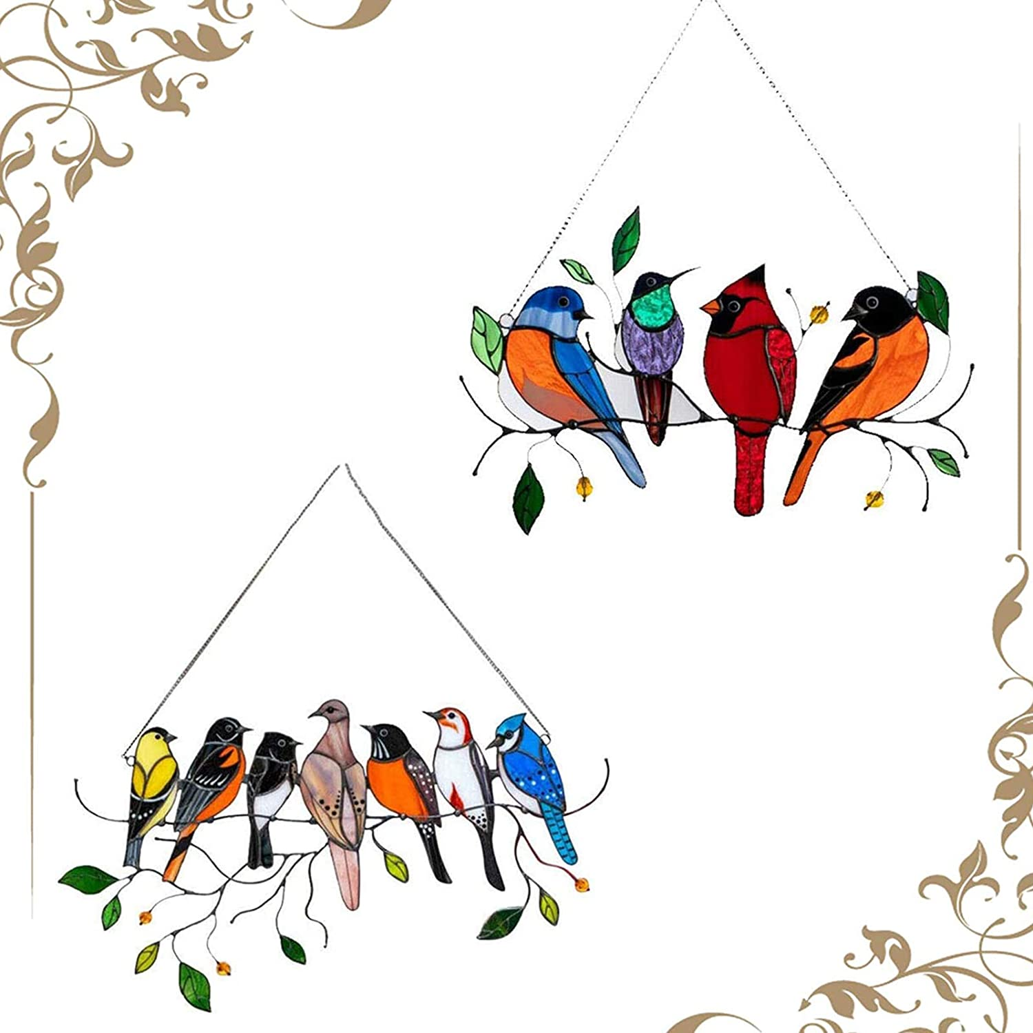 2 Pack Multicolor Birds on a Wire High Stained Glass Suncatcher Window Panel Bird Series Ornaments Pendant Acrylic Hanging Birds Decoration for Windows Doors Home Decoration and Gifts