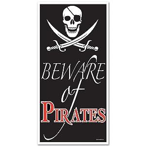 Beistle 50008 Beware of Pirates Door Cover