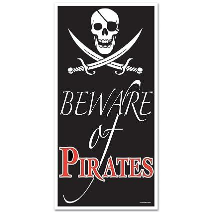 Amazon Com Beistle 50008 Beware Of Pirates Door Cover Party