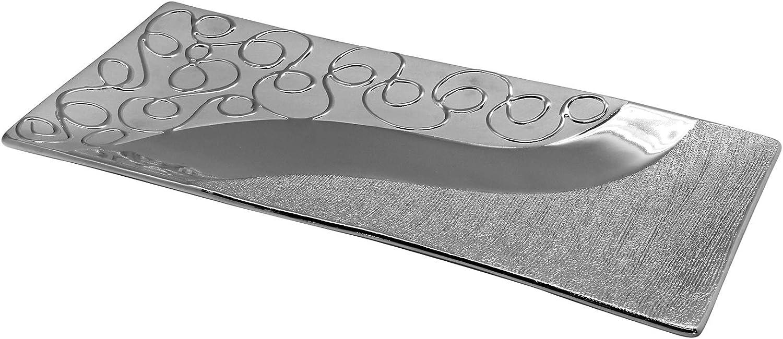 Neustanlo® moderene Dekoschale Keramik silber Deko Schale Platte Obstschale