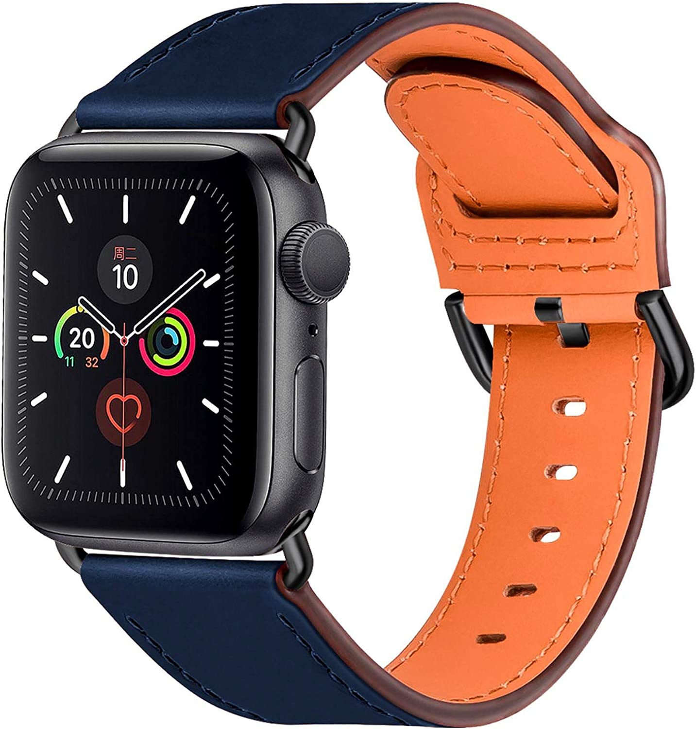 Compatible with Apple Watch Bands 44mm 42mm 40mm 38mm: Genuine Leather iWatch Band for Apple Watch SE Series 6 5 4 3 2 1, Dressy Smartwatch Strap for Women Men(Blue/Black, 42mm 44mm)