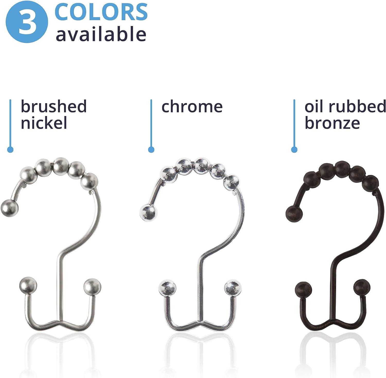 Maytex Metal Double Roller Set 12 Glide Shower Curtain Ring//Hooks Brushed Nickel