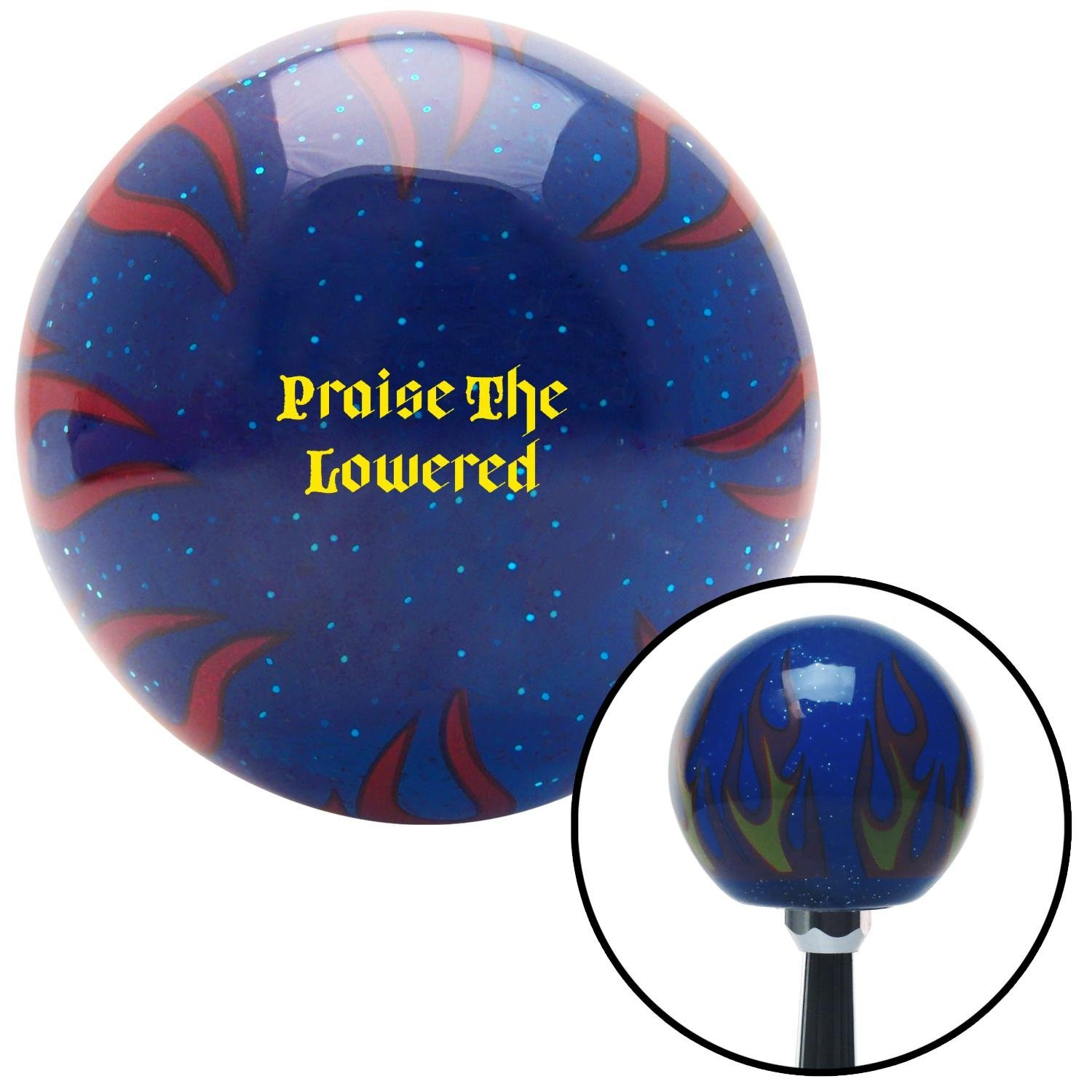 American Shifter 298604 Shift Knob Yellow Praise The Lowered Blue Flame Metal Flake with M16 x 1.5 Insert