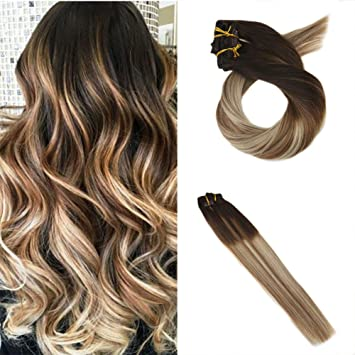 Moresoo 20 Zoll Balayage Remy Echthaar Extensions Clip In Full Head Set Mittel Braun4 Zu 6 Highlights With Blonde24 Double Weft Clip In