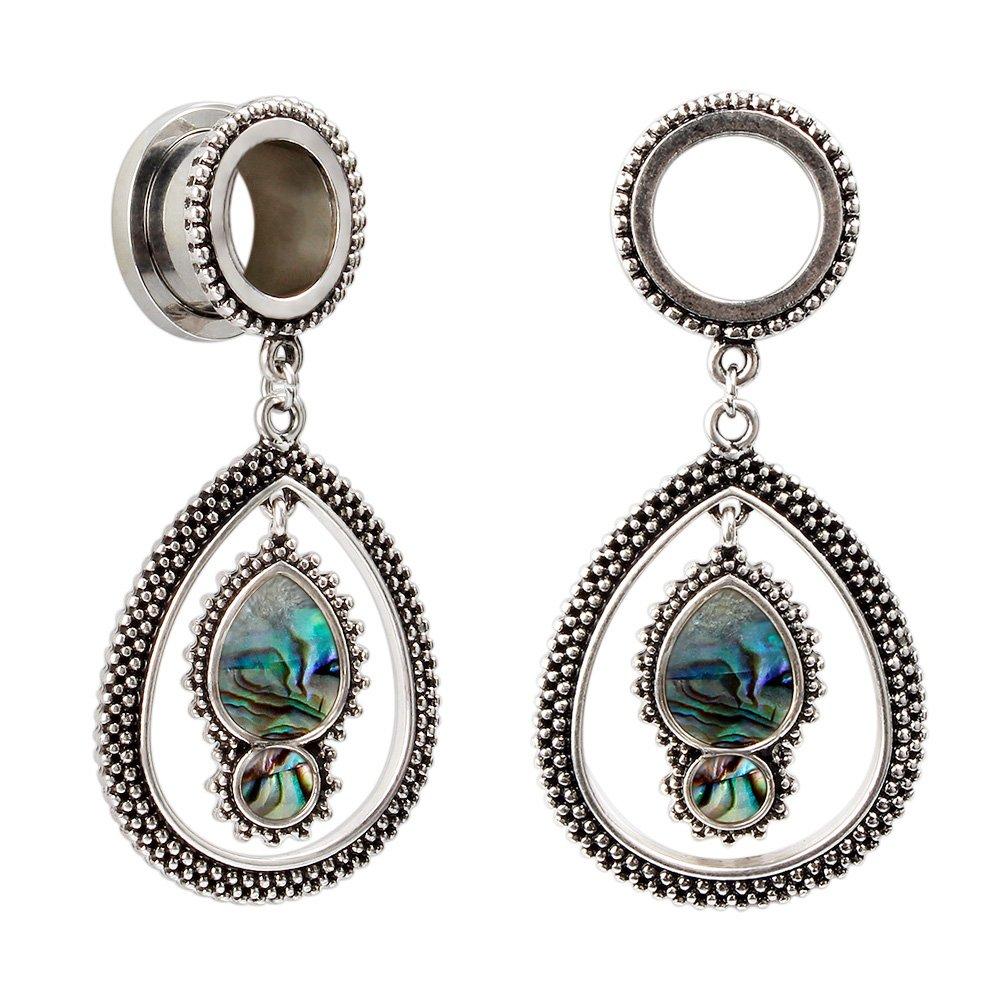 KUBOOZ Fashion Opal Dangle Alloy Pendant Ear Piercings Jewelry Stainless Steel Flare Ear Plugs Tunnels Gauges A026