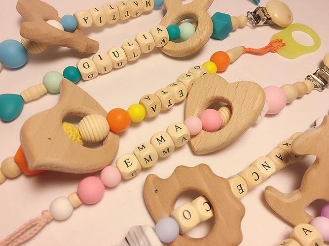 Catenella mam porta ciuccio con nome personalizzata: amazon.it: handmade