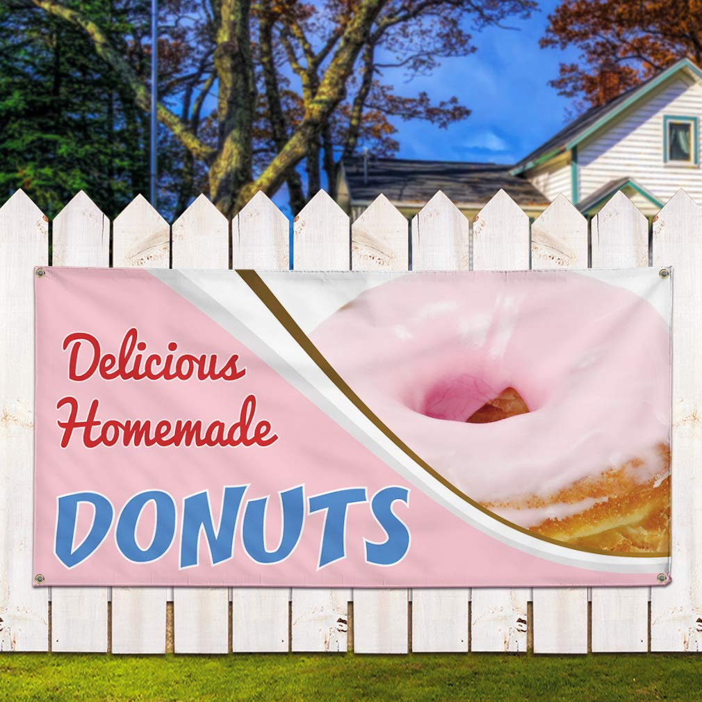 48inx96in Multiple Sizes Available One Banner Vinyl Banner Sign Delicious Homemade Donuts Donuts Outdoor Marketing Advertising Pink 8 Grommets