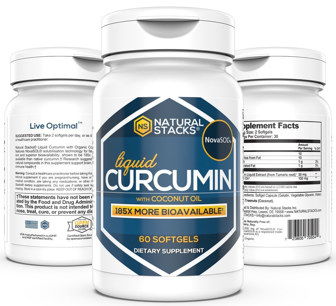 Natural Stacks Liquid Curcumin- Turmeric Supplement - 30-Day Supply (60 Count) - Active Anti-Inflammatory Compound from Turmeric - Join Health Support - May Boost Metabolism